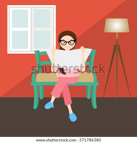 woman reading in corner  living room house home window glasses  - stock vector