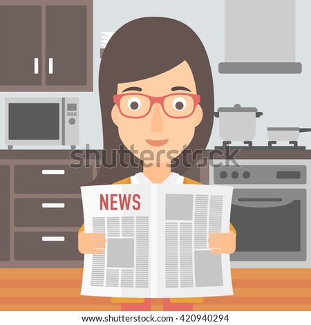 Woman reading newspaper. - stock vector