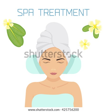 Woman relaxing in a spa salon surrounded by frangipani flowers. Beauty treatment therapy. Beauty, wellness and health concept. Spa banner. Perfect for spa and massage salons. Vector illustration. - stock vector