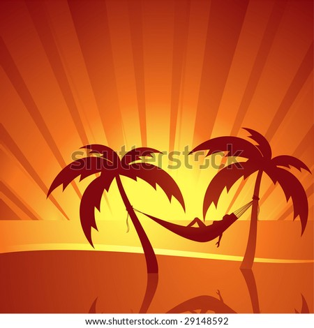 Woman relaxing in hammock between two palm trees watching sun setting