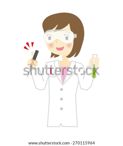 Woman researcher of white coat - stock vector