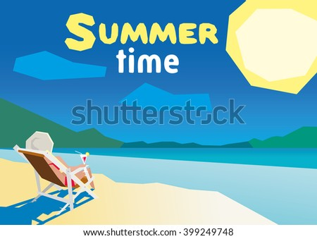 Woman resting on the beach on a deck chair. flat design summer beach and sea cartoon. low poly - stock vector
