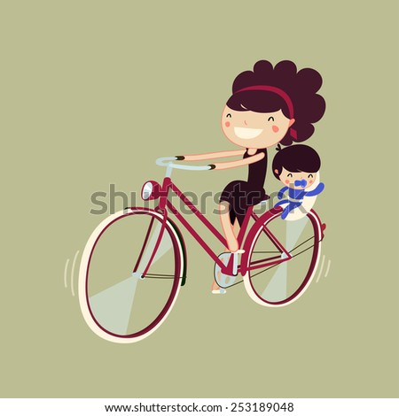 woman riding a bike with her baby. mother and son on a bicycle. character isolated. vector illustration - stock vector