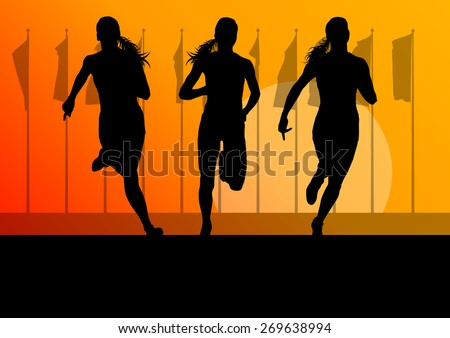 Woman runner female sprinter group vector background concept - stock vector