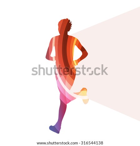 Woman runner sprinter silhouette illustration vector background colorful concept made of transparent curved shapes - stock vector