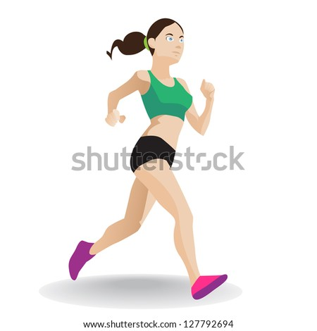 woman runner vector - stock vector