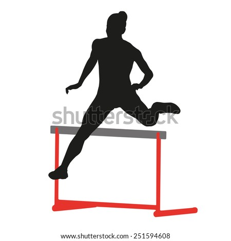 Woman running and jumping - stock vector