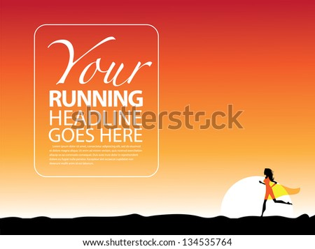 Woman running at sunset design template. EPS 8 vector, grouped for easy editing. No open shapes or paths. - stock vector