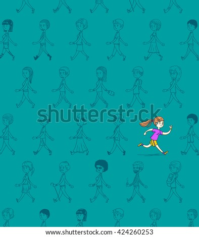 Woman running back current against crowd,, hand drawn style