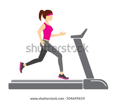 Woman running in a gym on a treadmill