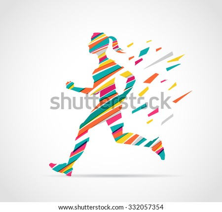 woman running, jogging - colorful illustration - stock vector