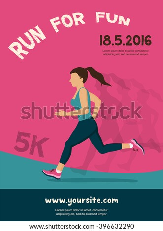 woman running, jogging - colorful illustration.  colorful poster design - stock vector