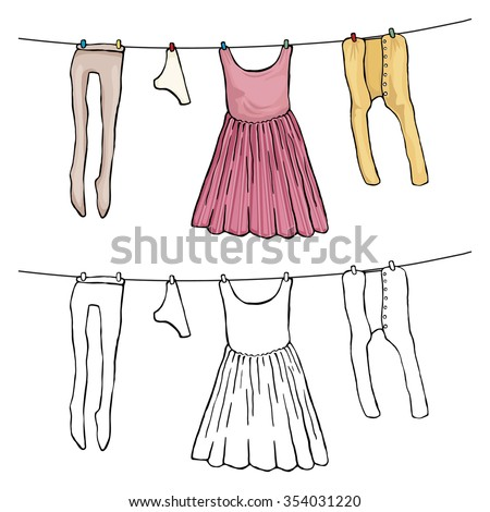 Woman's clothing drying in the wind on the washing line, vector illustration isolated on white, Black and white outline and colored version - stock vector