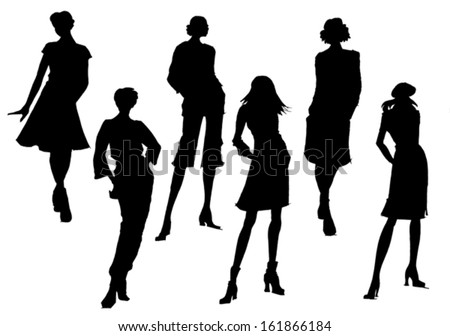 Woman's dresses collection technical vector drawing silhouette - stock vector