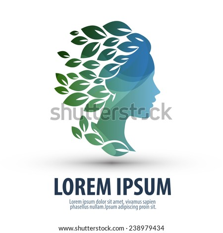 Woman's face and leaves. Logo, icon. The illustration on the theme of beauty salon, massage, cosmetics, spa - stock vector