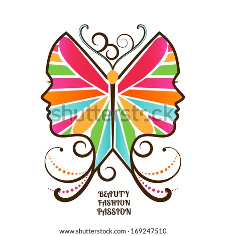 Woman's face in butterfly wings - beauty, fashion, freedom concept - stock vector