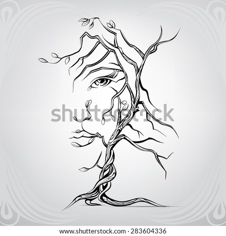 Womans Face Form Tree Stock Vector 283604336 - Shutterstock