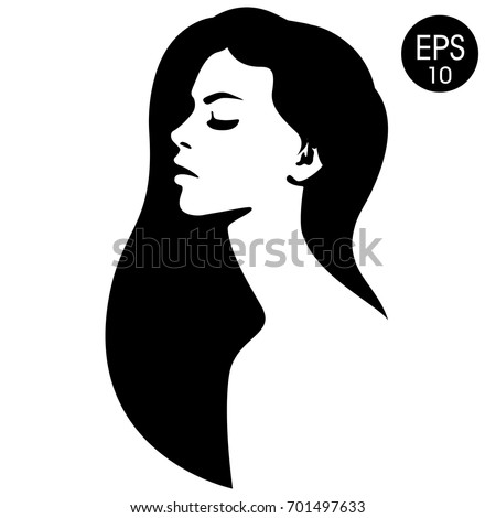 Womans Face Vector Fashion Illustration Black And White Silhouette
