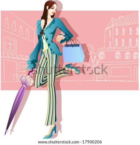 Woman's Fashion and Shopping - posing with pretty retro style on romantic pink background : vector illustration - stock vector