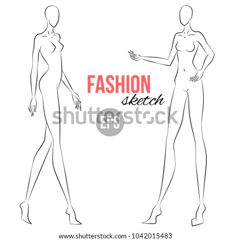 Womans Figure Sketch Different Poses Template Stock Vector ...