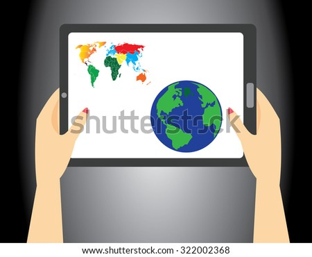 woman's hand holding a tablet