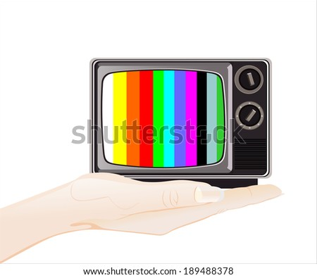 Woman's hand holding object-classic tv -colorful no signal  - stock vector