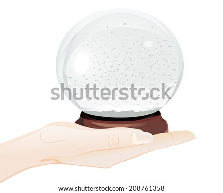 Woman's hand holding object- empty snow dome over white background
