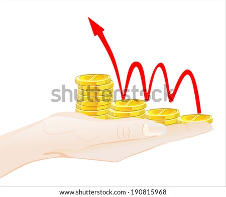 Woman's hand holding object-Financial success concept isolated on white background. - stock vector