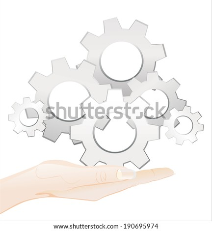 Woman's hand holding object-Gears isolated on white background.
