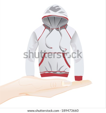 Woman's hand holding object-gray hoody jacket isolated on white background. - stock vector