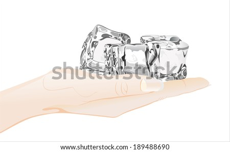 Woman's hand holding object-Three ice cubes  - stock vector