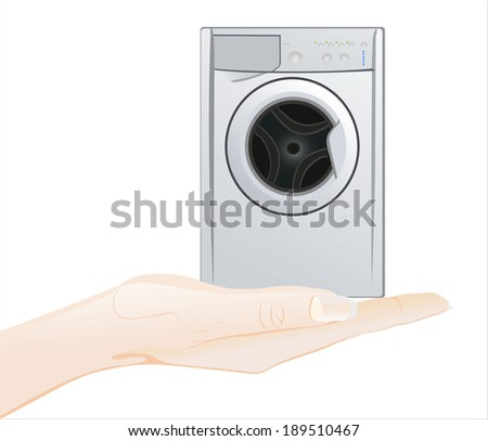 Woman's hand holding object-white washing machine