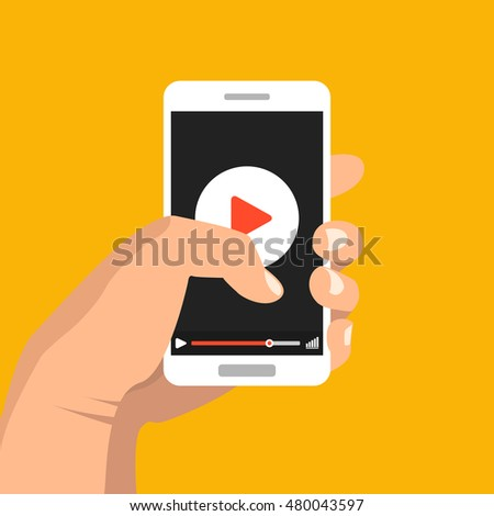 Woman's hand holding smartphone with video player on the screen. Movie app concept. Vector flat illustration.