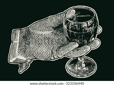 Woman's hand in glove with a glass of wine.  hand drawn design element. engraving style. vector illustration - stock vector