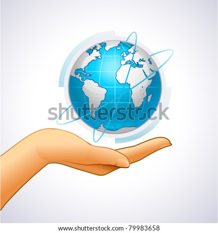 Woman's hand is holding small earth - stock vector