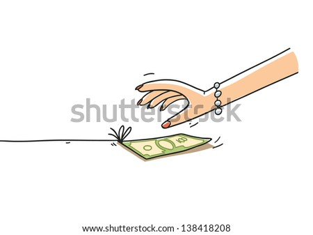 woman's hand taking a money bait. Cartoon illustration isolated on white background - stock vector