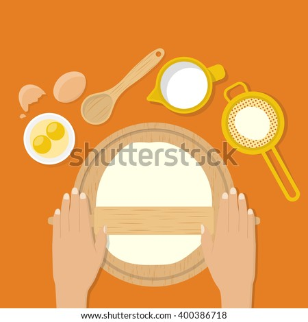 Woman's hands knead dough on table. Prepare for pizza, pastry, cake, bread, pastry, pie. Vector illustration flat design style. Cooking. Baker kneads make dough. Rolling dough. - stock vector