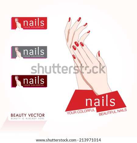 Woman's hands with red nails vector illustration. Beauty Icon business sign and signboard template for Beauty Industry, Nail Salon, Beauty Salon, Manicure, Spa, Cosmetic procedures, Cosmetic labeling. - stock vector