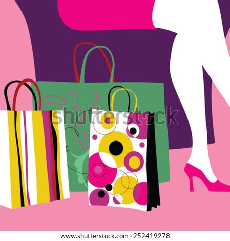 Woman's legs and shopping bags - stock vector
