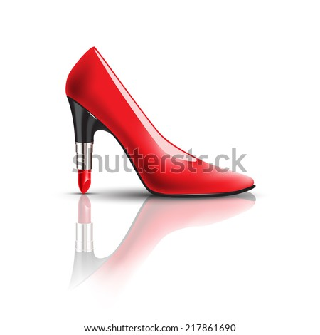 woman's red shoes with lipstick heel - stock vector