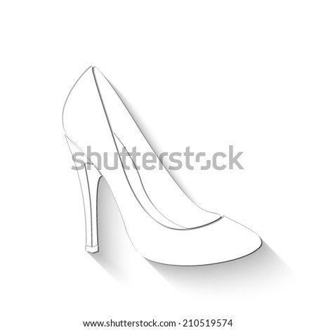 woman's shoes icon - white vector illustration with shadow