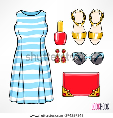 Woman's summer outfit. Dress and accessories. hand-drawing illustration