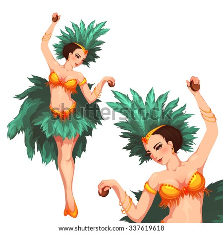 Woman samba dancer. Rio carnival. Vector illustration. - stock vector