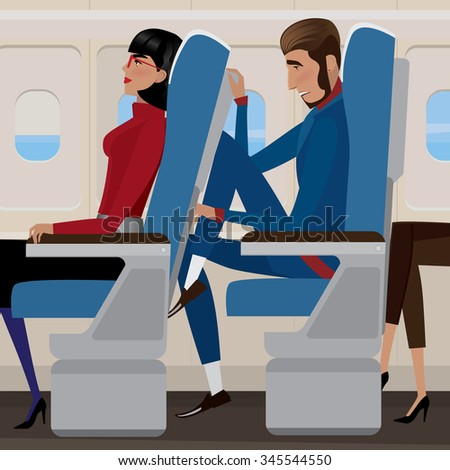 Woman sat back in a reclining seat and man behind the closely - discomfort and saving money concept - stock vector