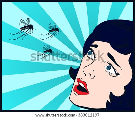 woman scary mosquito pop art comics vector blue