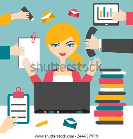 Woman secretary hard working. Busy business woman.  - stock vector