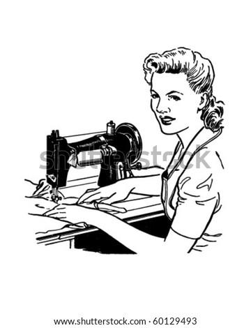 Woman Sewing - Retro Clip Art - stock vector