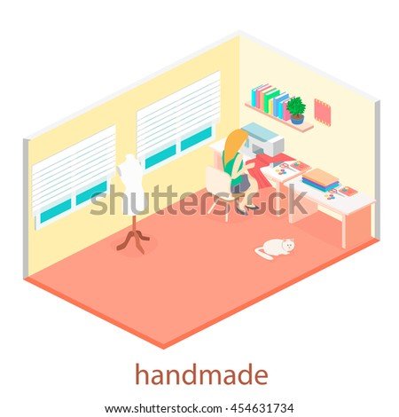 woman sews on the sewing machine. Isometric room interior. Flat 3D object. - stock vector