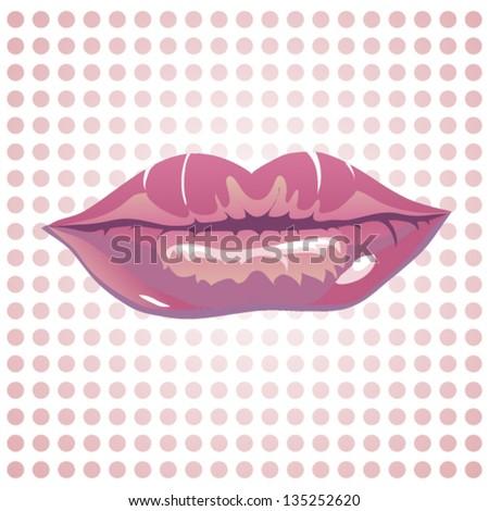 Woman sexy lip kiss,   Vector art illustration. Smile. - stock vector