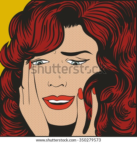 woman shocked pop art vector
